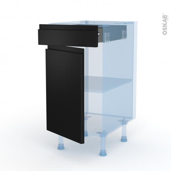 Ipoma Noir mat - Kit Rénovation 18 - Meuble bas cuisine  - 1 porte 1 tiroir - L40xH70xP60