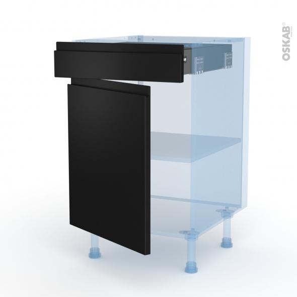 Ipoma Noir mat - Kit Rénovation 18 - Meuble bas cuisine  - 1 porte 1 tiroir - L50xH70xP60