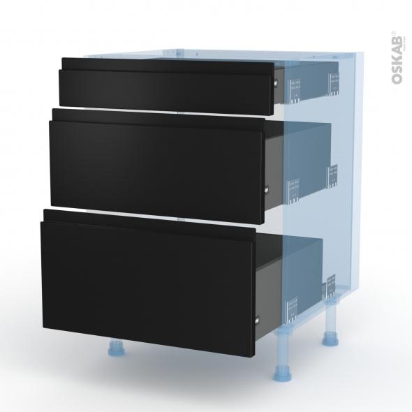 Ipoma Noir mat - Kit Rénovation 18 - Meuble casserolier  - 3 tiroirs - L60xH70xP60