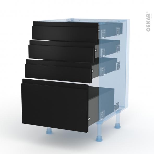 Ipoma Noir mat - Kit Rénovation 18 - Meuble casserolier  - 4 tiroirs - L50xH70xP60