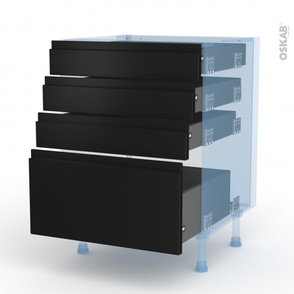 Ipoma Noir mat - Kit Rénovation 18 - Meuble casserolier  - 4 tiroirs - L60xH70xP60