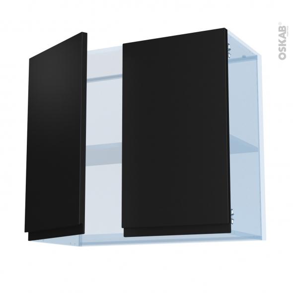 Ipoma Noir mat - Kit Rénovation 18 - Meuble haut ouvrant H70  - 2 portes - L80xH70xP37,5