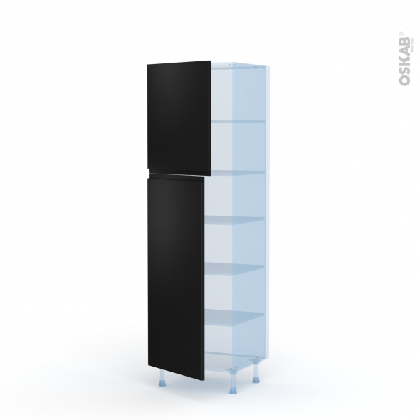 Ipoma Noir mat - Kit Rénovation 18 - Armoire étagère N°2721  - 2 portes - L60xH195xP60