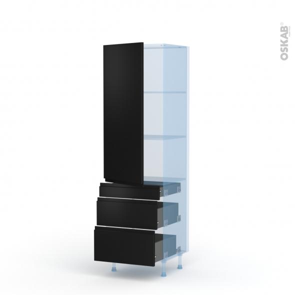 Ipoma Noir mat - Kit Rénovation 18 - Armoire étagère N°2758  - 3 tiroirs casserolier - L60xH195xP60