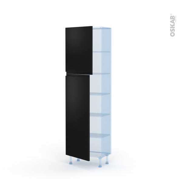 Ipoma Noir mat - Kit Rénovation 18 - Armoire étagère N°2127   - Prof.37  2 portes - L60xH195xP37,5