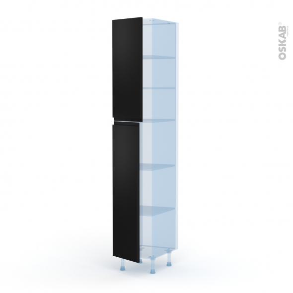 Ipoma Noir mat - Kit Rénovation 18 - Armoire étagère N°2326  - 2 portes - L40xH217xP60