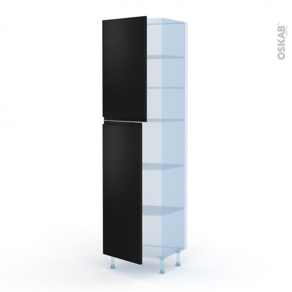 Ipoma Noir mat - Kit Rénovation 18 - Armoire étagère N°2427  - 2 portes - L60xH217xP60