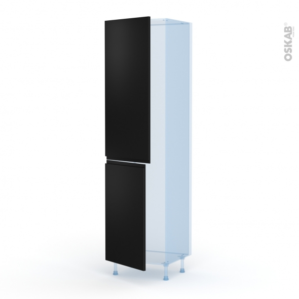 Ipoma Noir mat - Kit Rénovation 18 - Armoire frigo N°2724  - 2 portes - L60xH217xP60