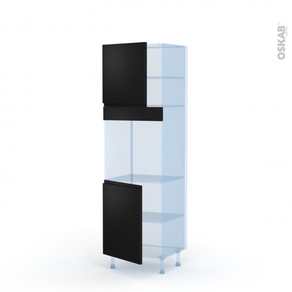 Ipoma Noir mat - Kit Rénovation 18 - Colonne Four N°1621  - 2 portes - L60xH195xP60