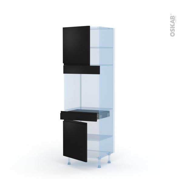 Ipoma Noir mat - Kit Rénovation 18 - Colonne Four N°1616  - 2 portes 1 tiroir - L60xH195xP60