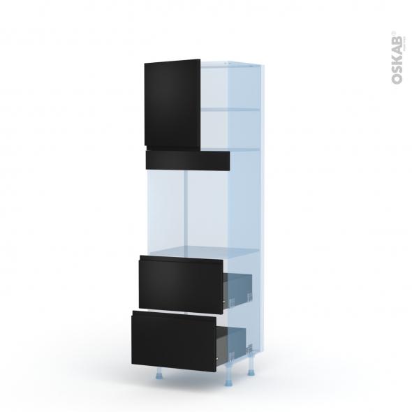 Ipoma Noir mat - Kit Rénovation 18 - Colonne Four N°1657  - 1 porte 2 casseroliers - L60xH195xP60