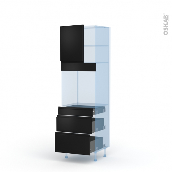 Ipoma Noir mat - Kit Rénovation 18 - Colonne Four N°1658  - 1 porte 3 tiroirs - L60xH195xP60
