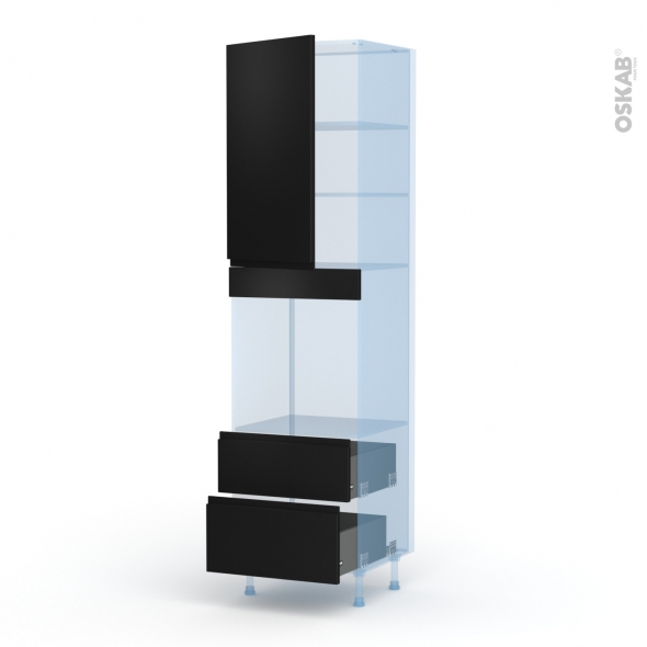 Ipoma Noir mat - Kit Rénovation 18 - Colonne Four N°2458  - 1 porte 2 casseroliers - L60xH217xP60