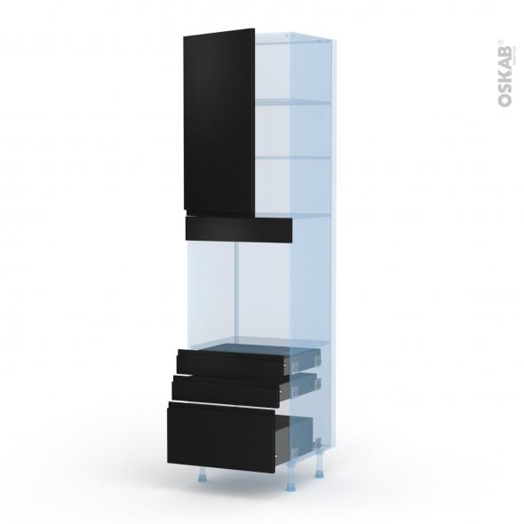 Ipoma Noir mat - Kit Rénovation 18 - Colonne Four N°2459  - 1 porte 3 tiroirs - L60xH217xP60