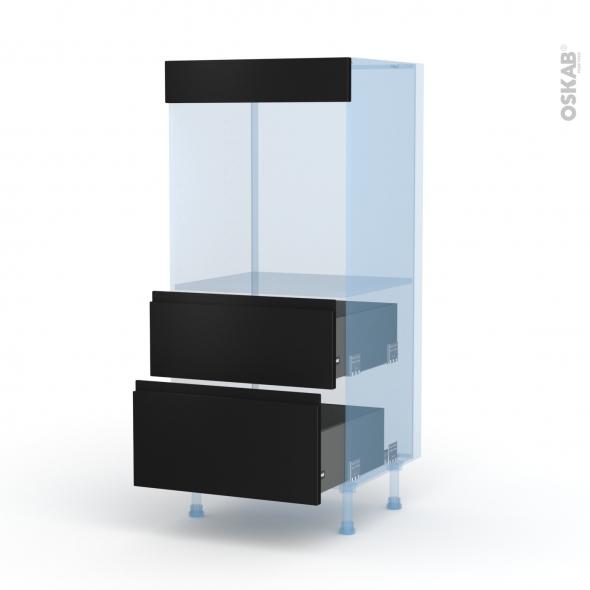 Ipoma Noir mat - Kit Rénovation 18 - Colonne Four N°58  - 2 casseroliers - L60xH125xP60