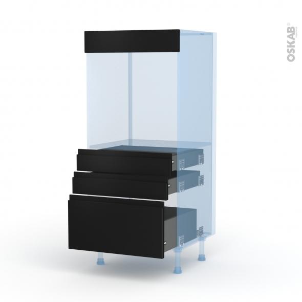 Ipoma Noir mat - Kit Rénovation 18 - Colonne Four N°59  - 3 tiroirs - L60xH125xP60