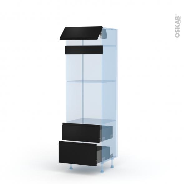 Ipoma Noir mat - Kit Rénovation 18 - Colonne Four+MO 45 N°558  - 1 abattant 2 casseroliers - L60xH195xP60