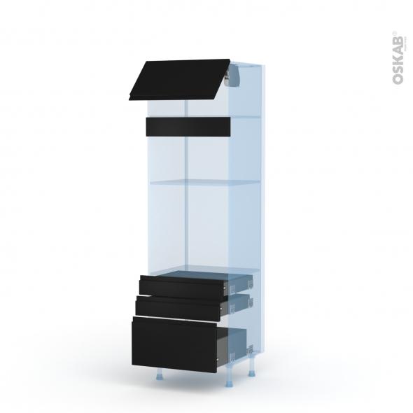 Ipoma Noir mat - Kit Rénovation 18 - Colonne Four+MO 36/38 N°1059  - 1 abattant 3 tiroirs - L60xH195xP60