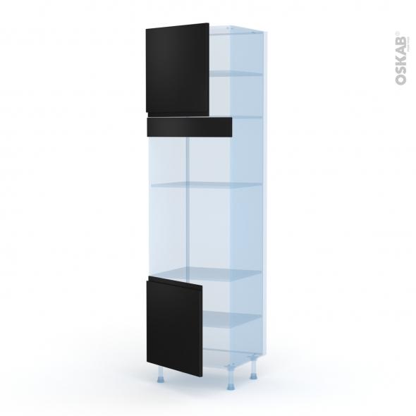 Ipoma Noir mat - Kit Rénovation 18 - Colonne Four+MO 36/38 N°1616  - 2 portes - L60xH217xP60