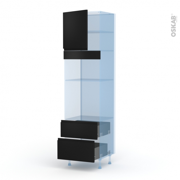 Ipoma Noir mat - Kit Rénovation 18 - Colonne Four+MO 35 N°1658  - 1 porte 2 casseroliers - L60xH217xP60