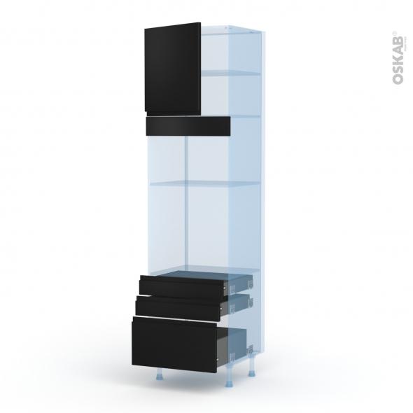 Ipoma Noir mat - Kit Rénovation 18 - Colonne Four+MO 36/38 N°1659  - 1 porte 3 tiroirs - L60xH217xP60