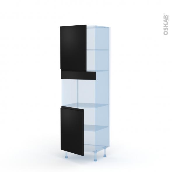 Ipoma Noir mat - Kit Rénovation 18 - Colonne Four niche 45 N°2121  - 2 portes - L60xH195xP60