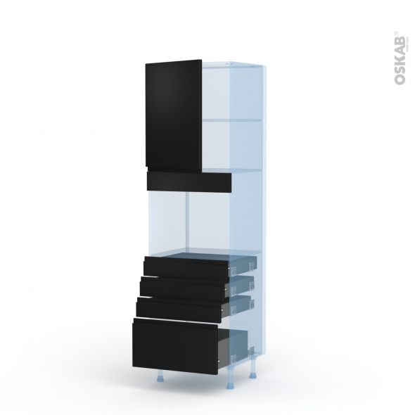 Ipoma Noir mat - Kit Rénovation 18 - Colonne Four niche 45 N°2159  - 1 porte 4 tiroirs - L60xH195xP60
