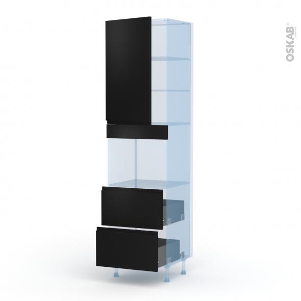 Ipoma Noir mat - Kit Rénovation 18 - Colonne Four niche 45 N°2457  - 1 porte 2 casseroliers - L60xH217xP60