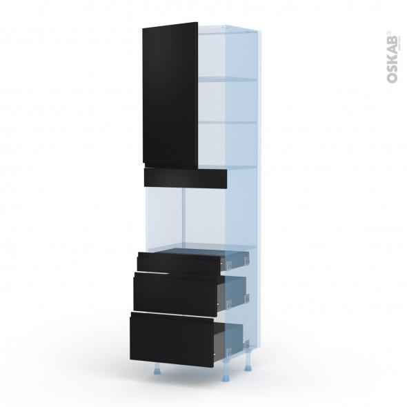 Ipoma Noir mat - Kit Rénovation 18 - Colonne Four niche 45 N°2458  - 1 porte 3 tiroirs - L60xH217xP60