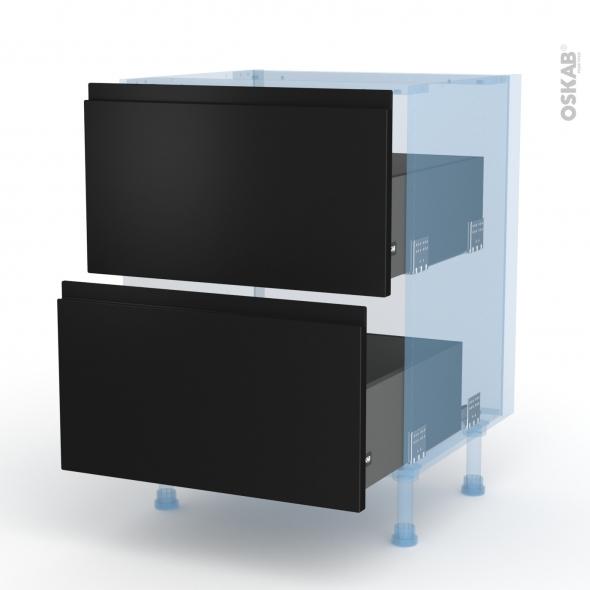 Ipoma Noir mat - Kit Rénovation 18 - Meuble casserolier  - 2 tiroirs - L60xH70xP60