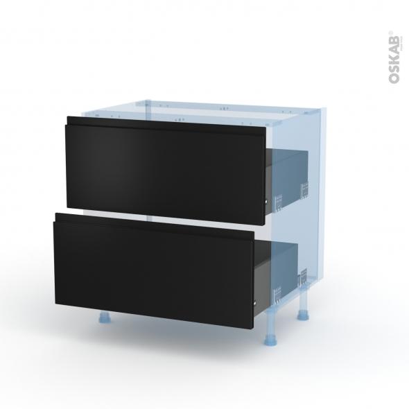 Ipoma Noir mat - Kit Rénovation 18 - Meuble casserolier  - 2 tiroirs - L80xH70xP60