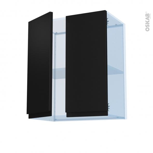 Ipoma Noir mat - Kit Rénovation 18 - Meuble haut ouvrant H70 - 2 portes - L60xH70xP37,5