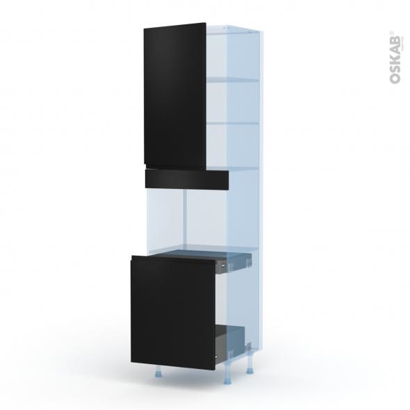 Ipoma Noir mat - Kit Rénovation 18 - Colonne Four N°2416 - 1 porte -1 porte coulissante - L60xH217xP60