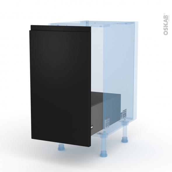 Ipoma Noir mat - Kit Rénovation 18 - Meuble sous-évier  - 1 porte coulissante - L40xH70xP60
