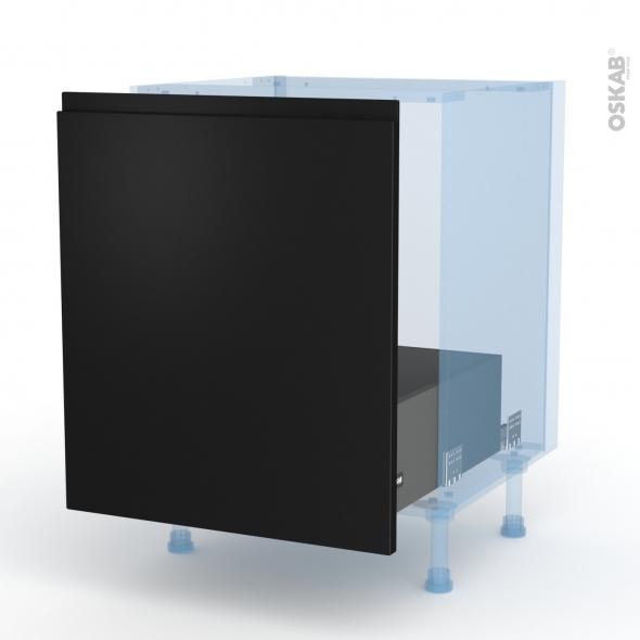 Ipoma Noir mat - Kit Rénovation 18 - Meuble sous-évier  - 1 porte coulissante - L60xH70xP60
