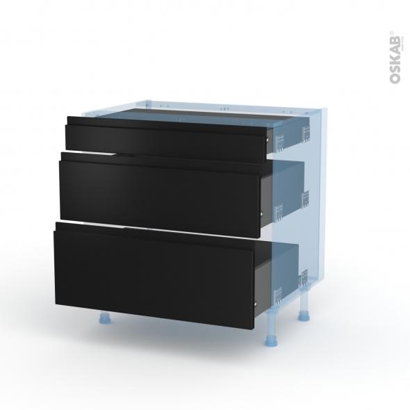 Ipoma Noir mat - Kit Rénovation 18 - Meuble casserolier - 3 tiroirs - L80xH70xP60