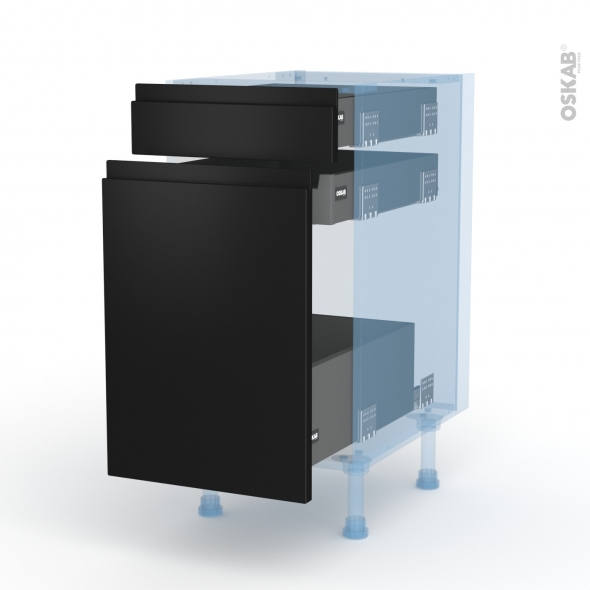 Ipoma Noir mat - Kit Rénovation 18 - Meuble range épice - 3 tiroirs - L40xH70xP60