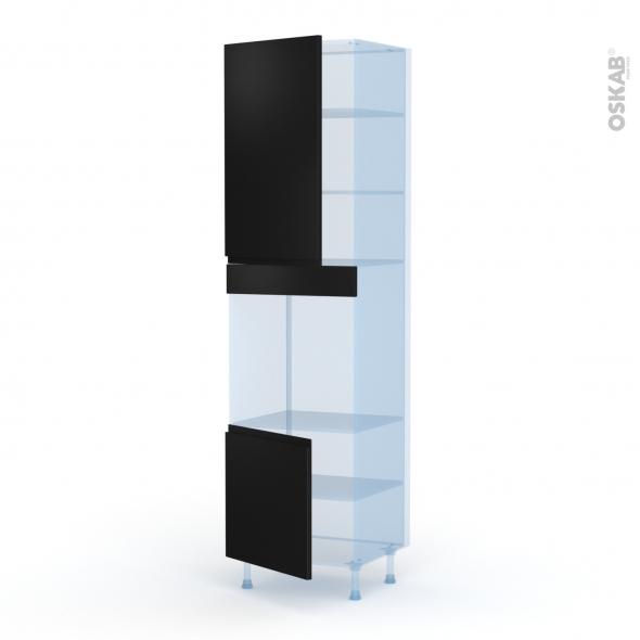 Ipoma Noir mat - Kit Rénovation 18 - Colonne Four N°1624 - 2 portes - L60xH217xP60