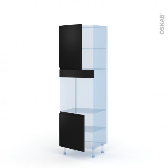 Ipoma Noir mat - Kit Rénovation 18 - Colonne Four niche 60 N°2116 - 2 portes - L60xH195xP60