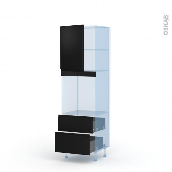 Ipoma Noir mat - Kit Rénovation 18 - Colonne Four niche 60 N°2158 - 1 porte 2 casseroliers - L60xH195xP60