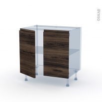 IPOMA Noyer - Kit Rénovation 18 - Meuble bas cuisine  - 2 portes - L80xH70xP60