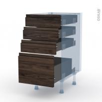 IPOMA Noyer - Kit Rénovation 18 - Meuble casserolier  - 4 tiroirs - L40xH70xP60
