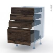 IPOMA Noyer - Kit Rénovation 18 - Meuble casserolier  - 4 tiroirs - L50xH70xP60