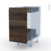 IPOMA Noyer - Kit Rénovation 18 - Meuble bas coulissant  - 1 porte-1 tiroir anglaise - L40xH70xP60