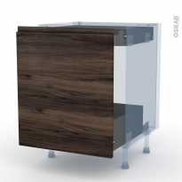 IPOMA Noyer - Kit Rénovation 18 - Meuble bas coulissant  - 1 porte -1 tiroir anglaise - L60xH70xP60