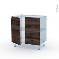 IPOMA Noyer - Kit Rénovation 18 - Meuble sous-évier  - 2 portes - L80xH70xP60