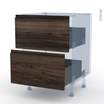 IPOMA Noyer - Kit Rénovation 18 - Meuble casserolier  - 2 tiroirs - L60xH70xP60