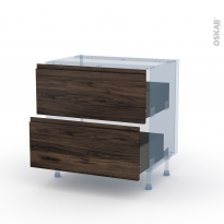 IPOMA Noyer - Kit Rénovation 18 - Meuble casserolier  - 2 tiroirs - L80xH70xP60