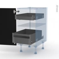 IPOMA Noyer - Kit Rénovation 18 - Meuble bas - 2 tiroirs à l'anglaise - L40xH70xP60