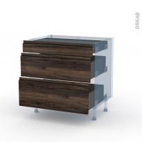 IPOMA Noyer - Kit Rénovation 18 - Meuble casserolier - 3 tiroirs - L80xH70xP60